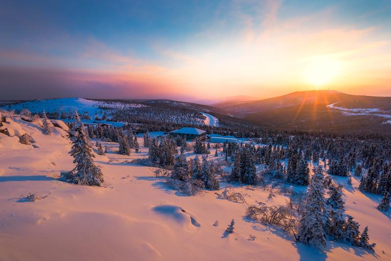 Sunset Over The Winter Valley -Fairbanks, Mt Aurora Skiland, Alaska