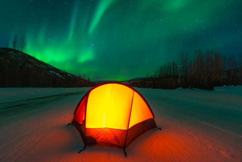 Camping Under The Lights -Chena Hot Springs Resort, Fairbanks, Alaska