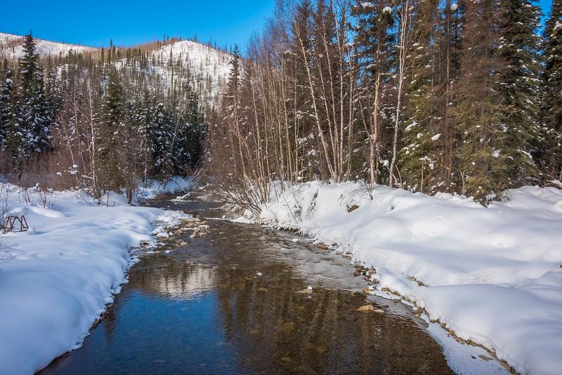 Chena River Leading Into The Mountains -Chena Hot Springs Resort, Fairbanks, Alaska