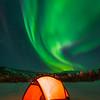 The Red Tent Under The Green Sky -Chena Hot Springs Resort, Fairbanks, Alaska