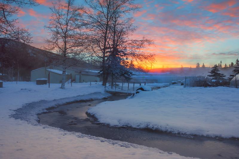 First Light Above Horizon -Chena Hot Springs Resort, Outside Fairbanks, Alaska