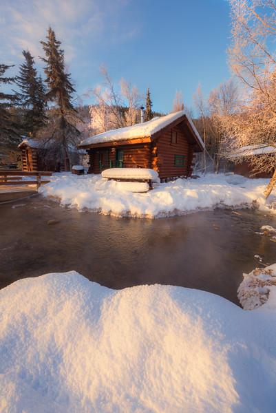 Cabin In Early Morning Light -Chena Hot Springs Resort, Outside Fairbanks, Alaska
