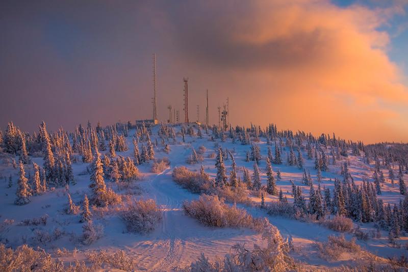 Ester Dome Station At Sunset -Ester Dome, Fairbanks, Alaska