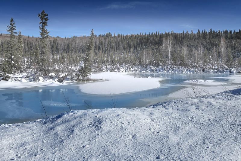 A Cold Winter Frozen Pond Inn Alaska - Goldstream Valley, Fairbanks, Alaska