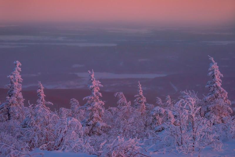 Overlooking The City Of Fairbanks In Winter -Ester Dome, Fairbanks, Alaska