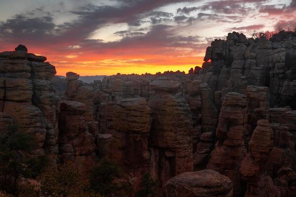Crimson Red Glow After Sunset Over Hoodoos - Chiricahua National Monument, Arizona