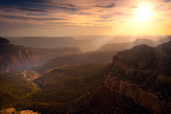 Sunset Rays Beaming Down Into The Valleys Of The Grand Canyon Locus Point, Rainbow Rim Trail, North Rim, Grand Canyon National Park, Arizona