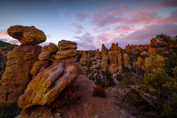 Twilight Reds Looming Over The Canyon - Chiricahua National Monument, Arizona