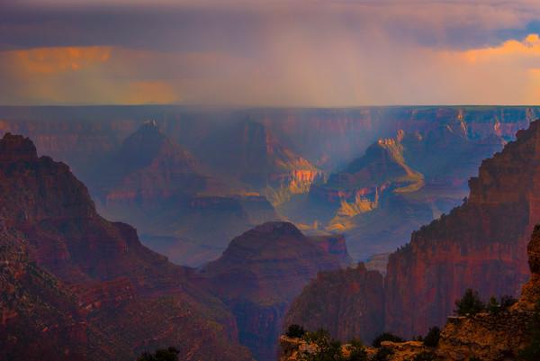Monsoon Rain Over The Grand Canyon - North Rim, Grand Canyon National Park, AZ