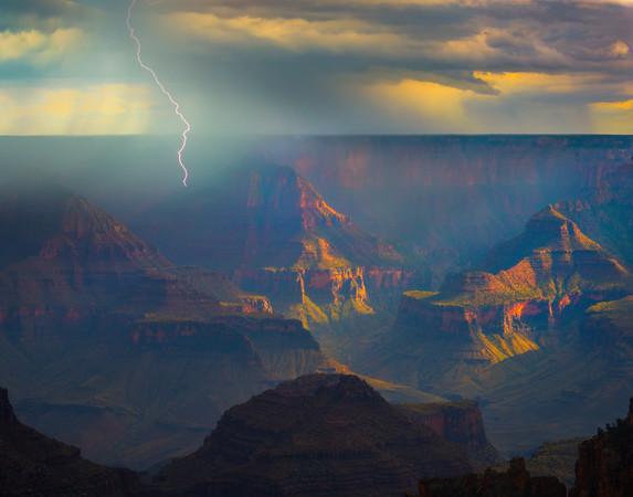 Sun Breaking Through The Monsoon_Vertical - North Rim, Grand Canyon National Park, AZ