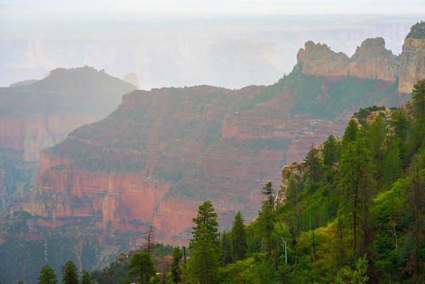 Mist Rolls Through The Grand Canyon - North Rim, Grand Canyon National Park, AZ