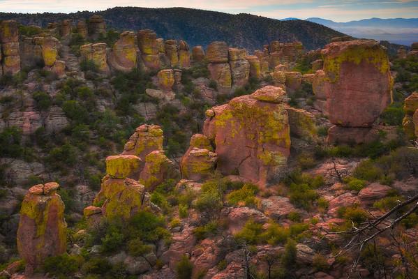 Diagonal Lines Of Pillars Along Cliff Edge - Chiricahua National Monument, Arizona