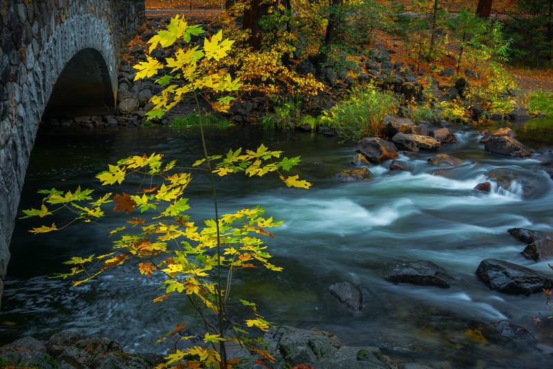 Pohono Bridge In Autumn - Yosemite National Park, Eastern Sierras, California
