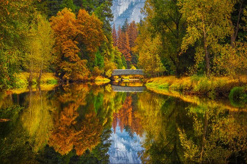 An Intimate Look At Fall Colors Along Merced And Sentinel Bridge - Yosemite National Park, Eastern Sierras, California