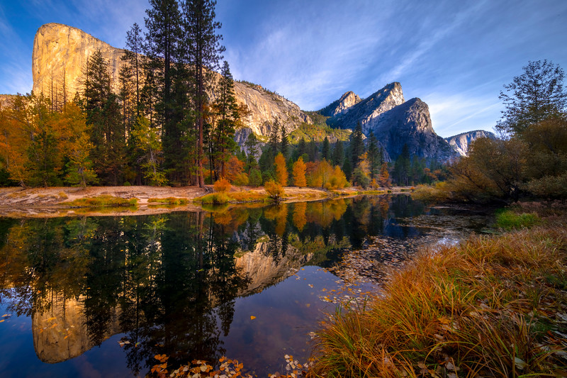 Morning Light From Beginning Of Tahiti Beach - Lower Yosemite Valley, Yosemite National Park, California