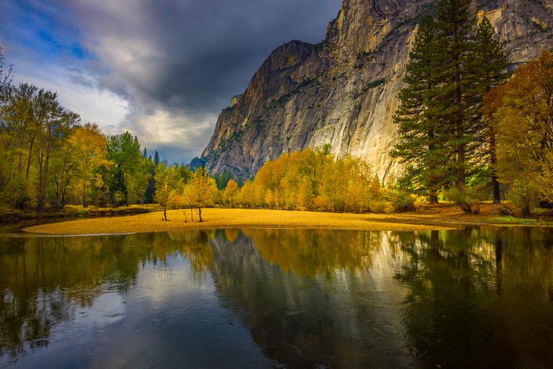 The Glow Of Fall From Swing Bridge - Yosemite National Park, Eastern Sierras, California