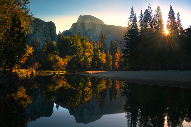 Morning Light Reflected In Merced At Housekeeping - Yosemite National Park, California
