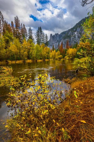 Alongside The Merced River Looking At Spires - Yosemite National Park, Eastern Sierras, California