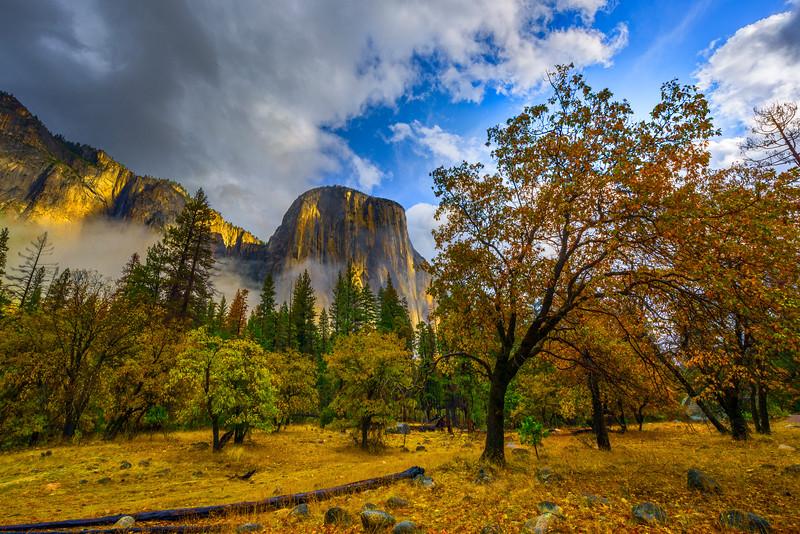 Scattered Light On El Captain From Bridalveil Viewpoint - Yosemite National Park, Eastern Sierras, California