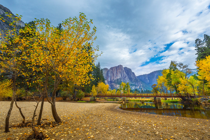Looking Up Towards Upper Yosemite With Swing Bridge - Yosemite National Park, Eastern Sierras, California