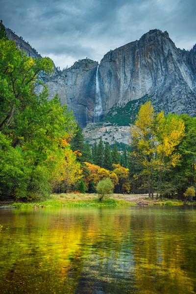 Upper Yosemite Falls From Chapel Meadow Bridge - Yosemite National Park, Eastern Sierras, California