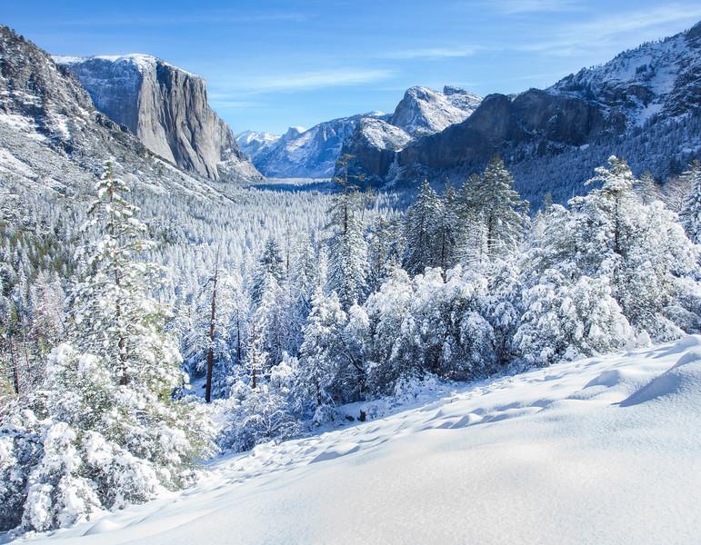 Yosemite Winter Valley Snow Morning