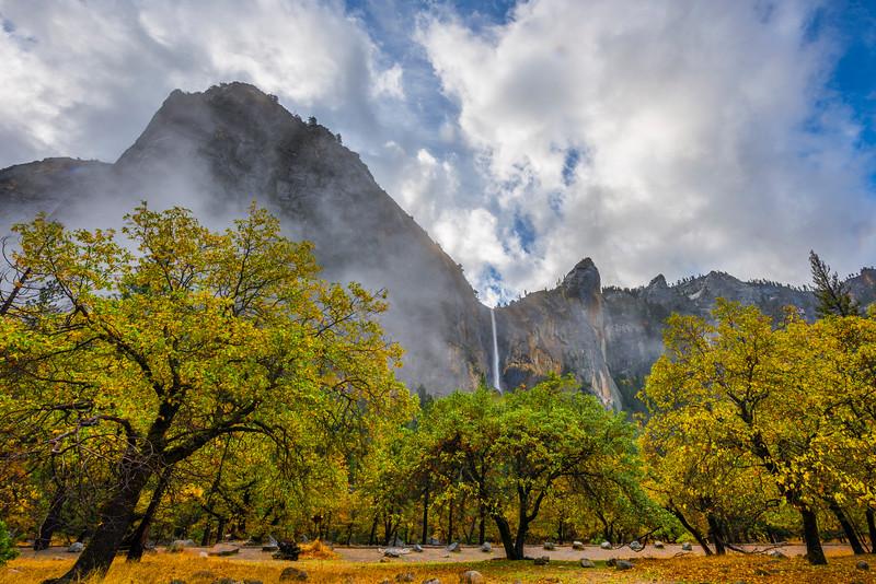 Bridalveil Falls In The Mist From Bridal Viewpoint - Yosemite National Park, Eastern Sierras, California