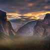 Sunset Light Streaking Through Yosemite Valley - Lower Yosemite Valley, Yosemite National Park, CA