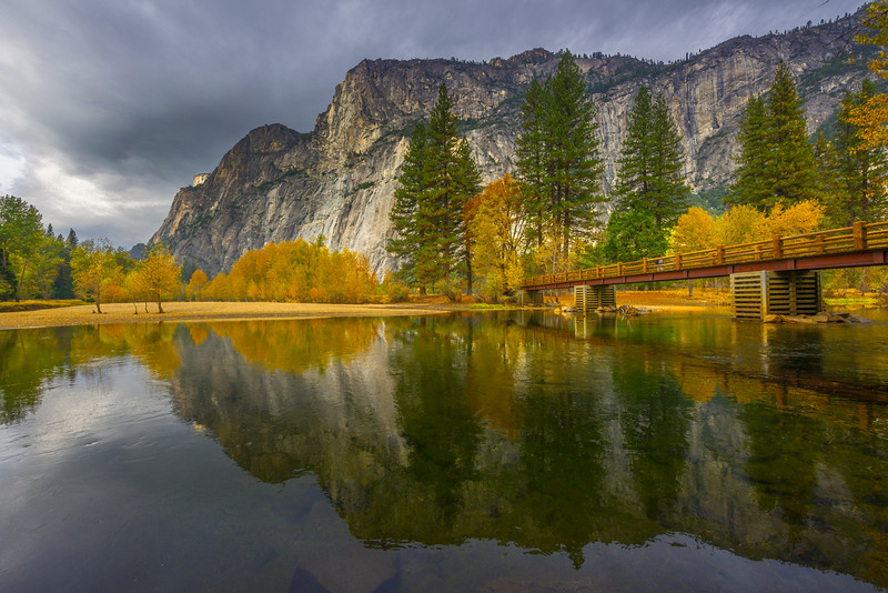 Swing Bridge And Merced River Island - Yosemite National Park, Eastern Sierras, California
