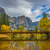 Reflections In Merced River Of Swing Bridge - Yosemite National Park, Eastern Sierras, California