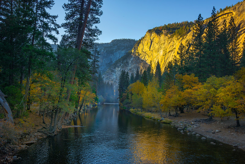 Looking Down Merced River Of Color - Yosemite National Park, Eastern Sierras, California