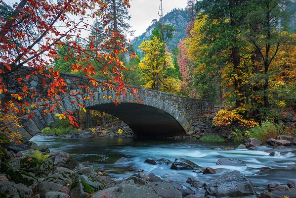 Pohono Bridge Dressed In Autumn Colors - Yosemite National Park, Eastern Sierras, California