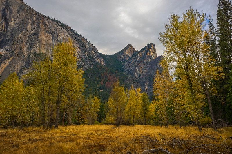 Golden Grass Of Tahiti Beach And Three Brothers - Yosemite National Park, Eastern Sierras, California