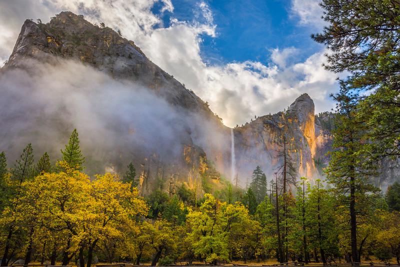 Sun Hitting The Walls Of Bridalveil Falls - Yosemite National Park, Eastern Sierras, California