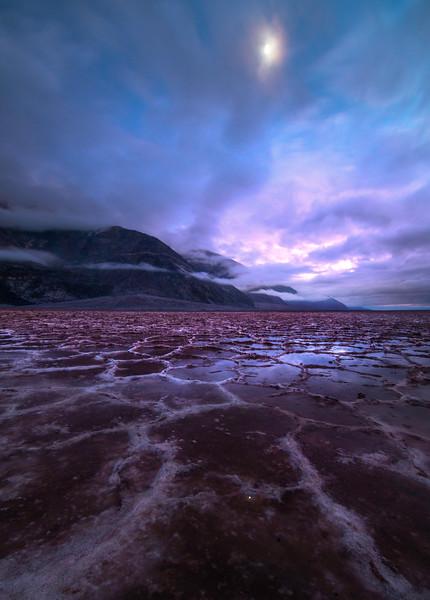 Moonlight Over The Badlands Basin - Death Valley National Park, California