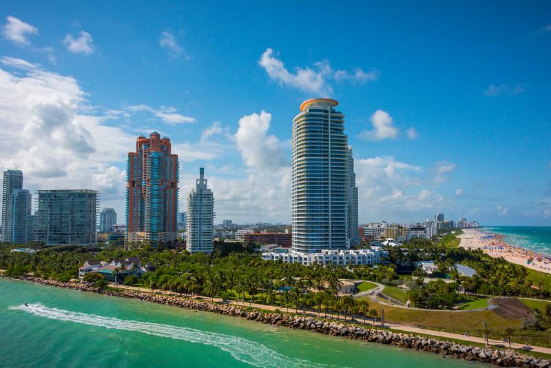 Coming Around The Point To South Beach - Downtown Miami, Florida