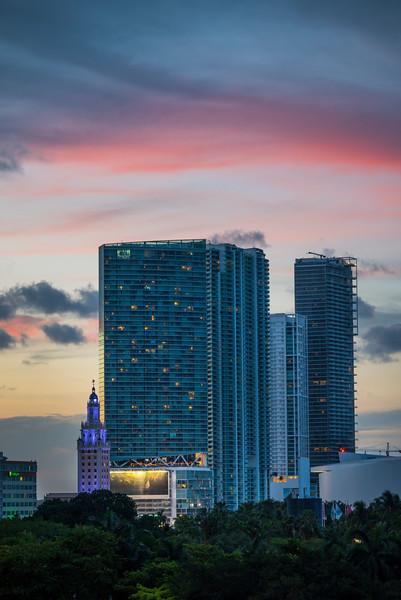 Night Begins In Miami - Downtown Miami, Florida