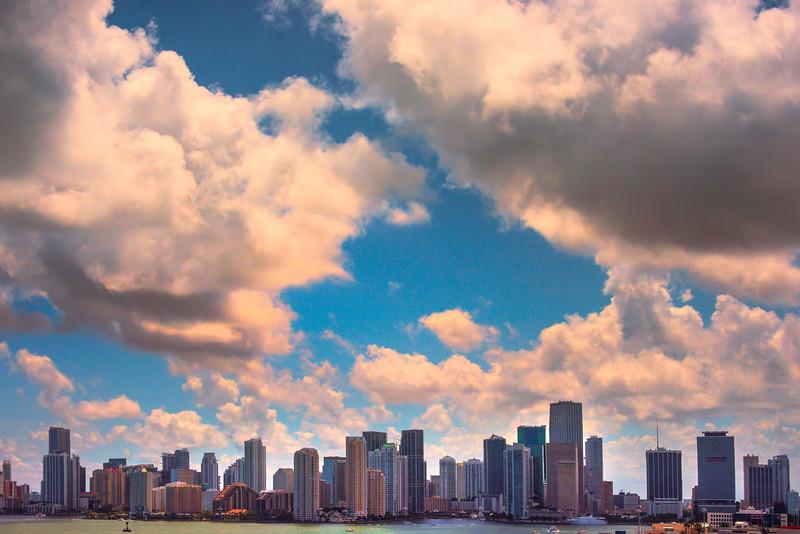 Morning Sunrise Clouds Over Miami Skyline - Downtown Miami, Florida