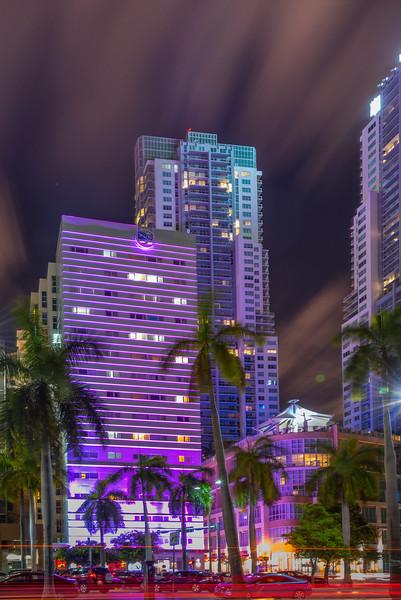 Miami Hustle At Night - Downtown Miami, Florida