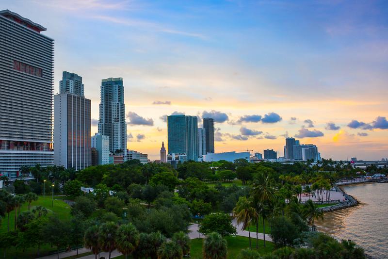 Sunset Over Bayfront Park And Miami Skyline - Downtown Miami, Florida