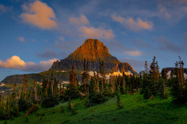 Reynolds Peak In Last Light - Logans Pass, Glacier National Park, Montana