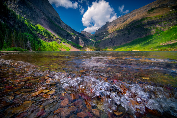 Grinnell Lake In Afternoon Light - Grinnell Lake, Glacier National Park, Montana