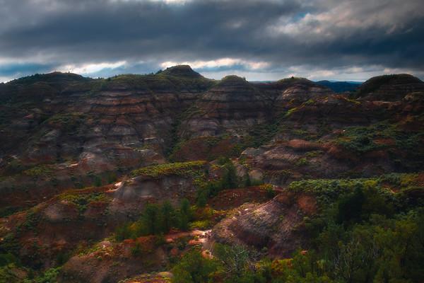Dashing Light Throughout Canyon Walls - Makoshika State Park, Glendive, Eastern Montana