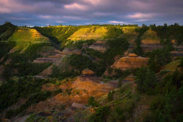 Morning Light Across The Canyon - Makoshika State Park, Glendive, Eastern Montana