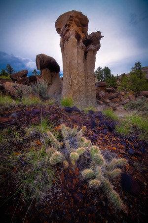 Spotlight Behind The Hoodoo - Makoshika State Park, Glendive, Eastern Montana