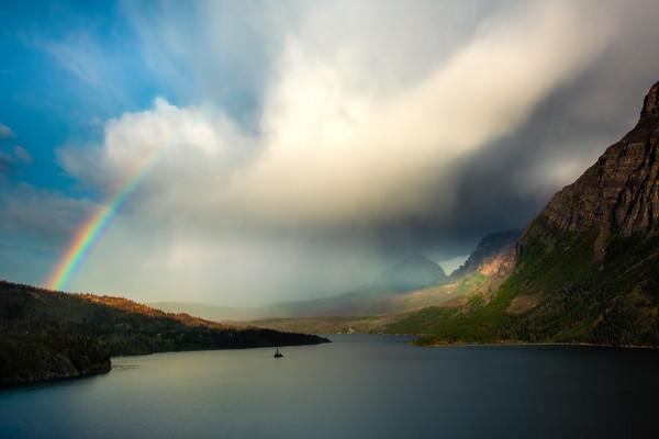 Rainbow Over Wild Goose Island -  Saint Mary's Lake, Glacier National Park, Montana