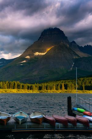 Hanging On The Rim - Swiftcurrent Lake, Many Glacier, Glacier National Park, Montana