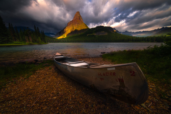 Good Morning For A Canoe Trip - Swiftcurrent Lake, Many Glacier, Glacier National Park, Montana