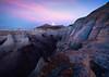 Full Moon Reflected Warm Light On Rocks -  Bisti/De-Na-Zin Wilderness, New Mexico