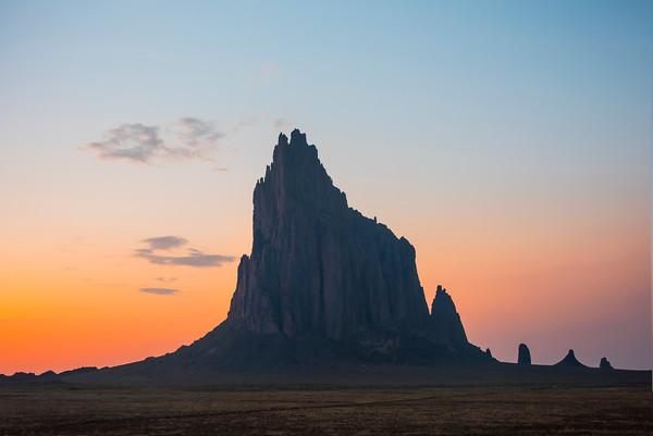 The ShipRock Wilth Twilight Orange - Shiprock, New Mexico
